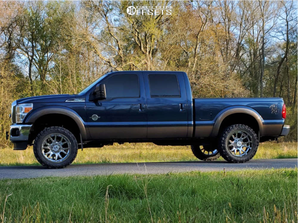 """2015 Ford F-250 Super Duty Aggressive > 1"""" outside fender on 22x10 -25 offset Hostile Rage and 35""""x12.5"""" Gladiator Xcomp Mt on Leveling Kit - Custom Offsets Gallery"""