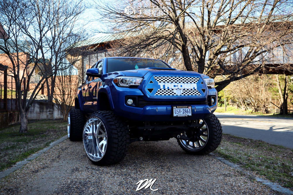"""2018 Toyota Tacoma Aggressive > 1"""" outside fender on 26x16 -101 offset American Force Octane Ss and 35""""x15.5"""" Fury Offroad Country Hunter Mt on Suspension Lift 10"""" - Custom Offsets Gallery"""
