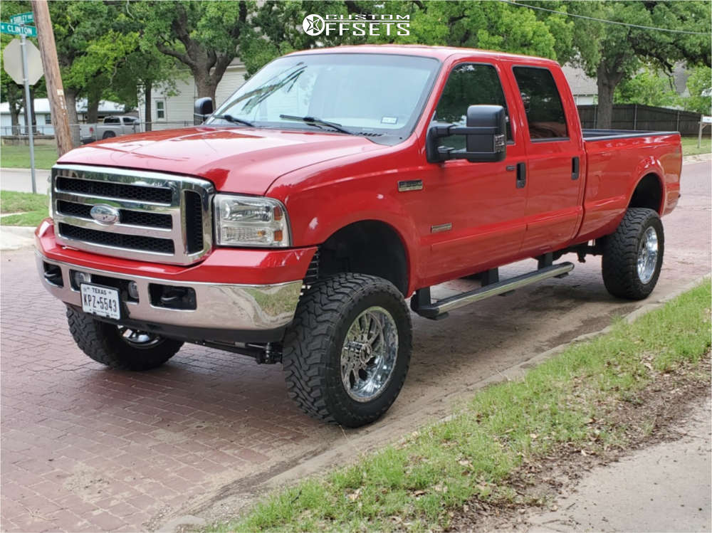 """2006 Ford F-350 Super Duty Aggressive > 1"""" outside fender on 20x10 -19 offset Xtreme Force Xf8 and 35""""x12.5"""" Toyo Tires Open Country M/T on Suspension Lift 4.5"""" - Custom Offsets Gallery"""