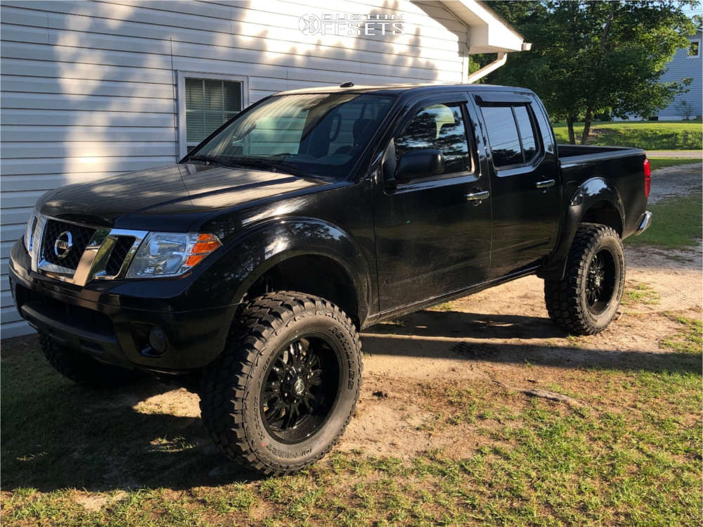 """2013 Nissan Frontier Aggressive > 1"""" outside fender on 20x9 -12 offset Panther Offroad 580 & 35""""x12.5"""" Achilles Desert Hawk X-mt on Suspension Lift 6"""" - Custom Offsets Gallery"""