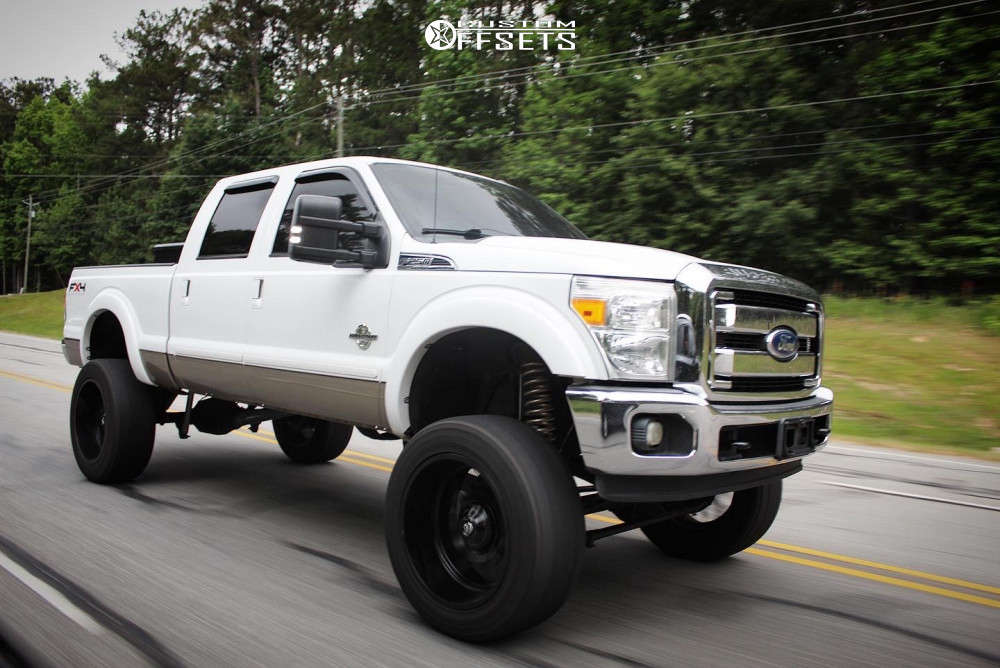 """2011 Ford F-250 Super Duty Aggressive > 1"""" outside fender on 24x12 -44 offset Fuel Sledge and 38""""x13.5"""" Nitto Ridge Grappler on Suspension Lift 9.5"""" - Custom Offsets Gallery"""