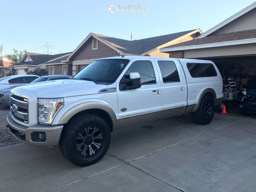 """2012 Ford F-250 Super Duty Aggressive > 1"""" outside fender on 20x9 18 offset Helo He901 and 325""""x60"""" Goodyear Wrangler Duratrac on Leveling Kit - Custom Offsets Gallery"""