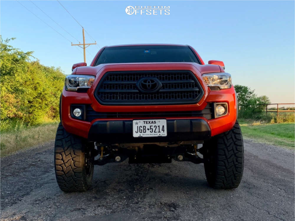 """2017 Toyota Tacoma Aggressive > 1"""" outside fender on 20x10 -19 offset Gear Off-Road Big Block and 35""""x12.5"""" Toyo Tires Open Country R/T on Suspension Lift 6"""" - Custom Offsets Gallery"""