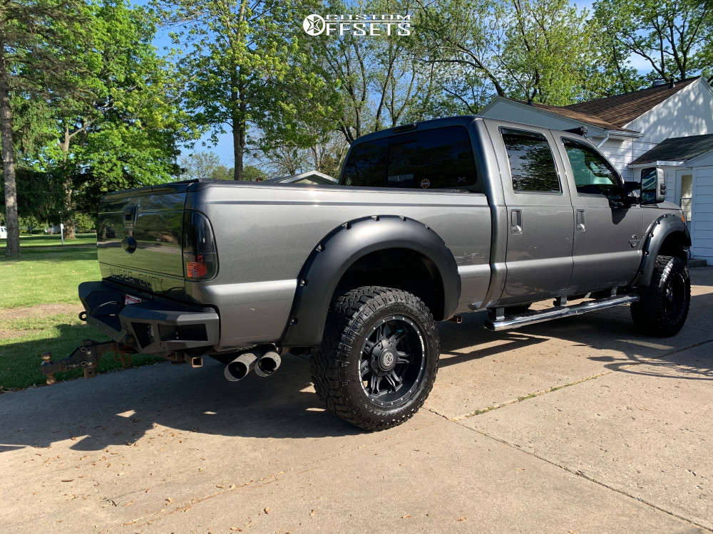 """2015 Ford F-350 Super Duty Aggressive > 1"""" outside fender on 20x10 -24 offset Anthem Off-Road Aviator and 35""""x12.5"""" Goodyear Wrangler Duratrac on Leveling Kit - Custom Offsets Gallery"""