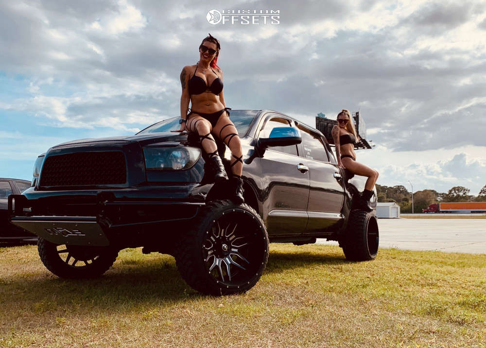 """2008 Toyota Tundra Hella Stance >5"""" on 24x14 -76 offset Xf Offroad Xf-222 & 33""""x12.5"""" Comforser Cf3000 on Suspension Lift 7.5"""" - Custom Offsets Gallery"""