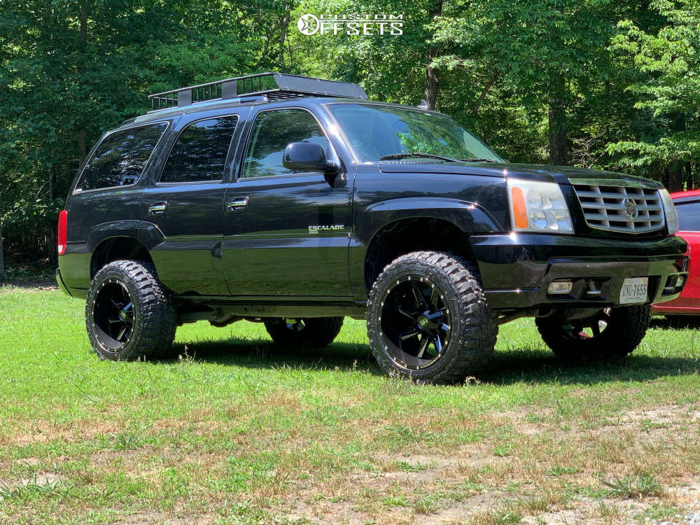 """2006 Cadillac Escalade Aggressive > 1"""" outside fender on 20x12 -44 offset Hardrock Hardcore & 33""""x12.5"""" Federal Couragia Mt on Suspension Lift 3"""" - Custom Offsets Gallery"""