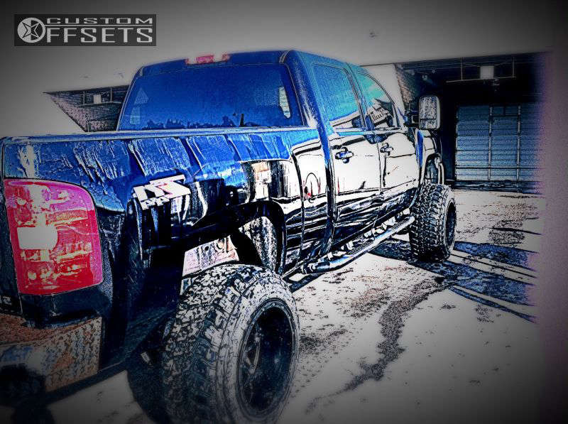 """2007 Chevrolet Silverado 2500 HD Hella Stance >5"""" on 20x14 -76 offset Fuel Hostage and 35""""x12.5"""" Federal Couragia MT on Suspension Lift 6"""" - Custom Offsets Gallery"""
