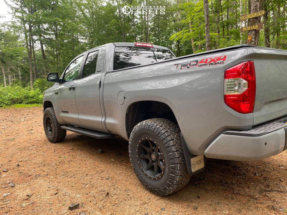 """2019 Toyota Tundra Aggressive > 1"""" outside fender on 18x9 25 offset Icon Alloys Rebound and 285/75 Nitto Ridge Grappler on Suspension Lift 3"""" - Custom Offsets Gallery"""