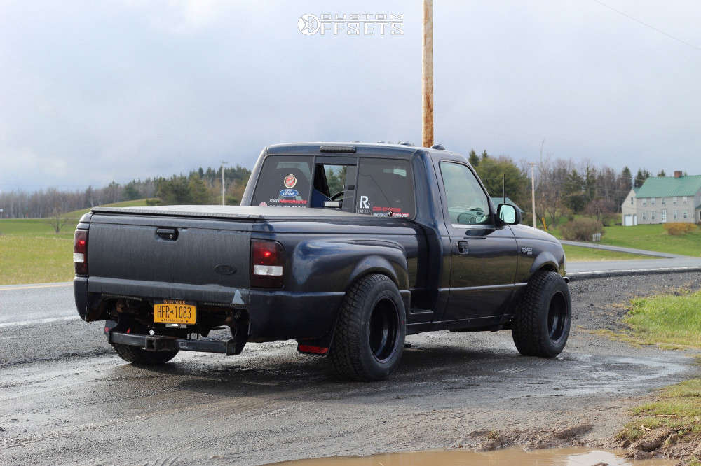 """2002 Ford Ranger Super Aggressive 3""""-5"""" on 15x10 -81 offset Bart Super Trucker and 255/60 Maxxis Marauder MA-S1 on Lowered Adj Coil Overs - Custom Offsets Gallery"""