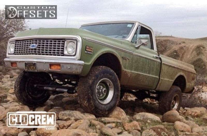 "1972 Chevrolet K10 Flush on 15x10.5 10.5 offset GM Rally & 33""x10.5"" BFGoodrich A/T on Suspension Lift 4"" - Custom Offsets Gallery"
