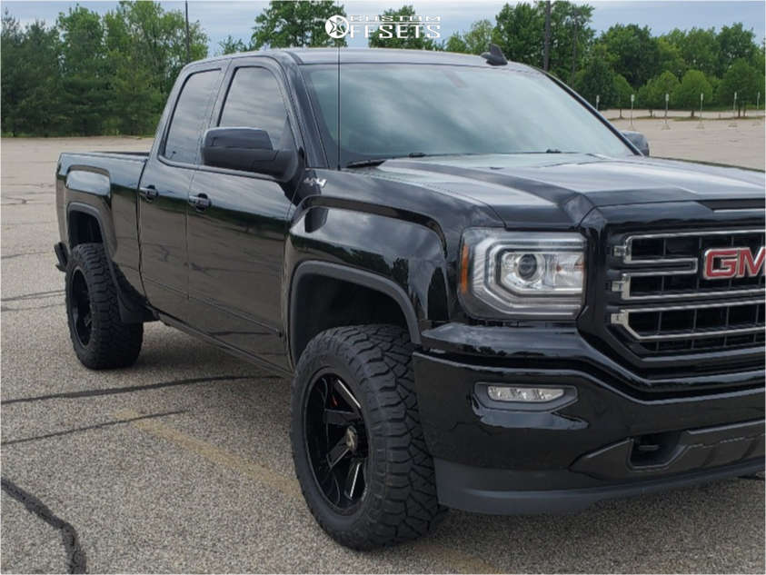 """2019 GMC Sierra 1500 Limited Super Aggressive 3""""-5"""" on 20x10 -25 offset ARKON OFF-ROAD Lincoln and 33""""x12.5"""" Nitto Ridge Grappler on Leveling Kit - Custom Offsets Gallery"""