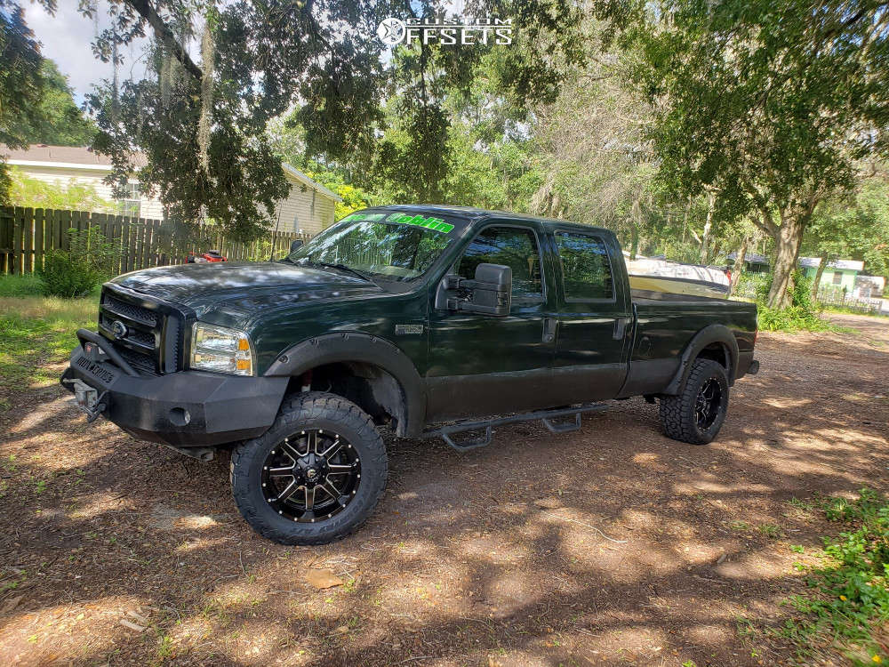 """2003 Ford E-350 Super Duty Aggressive > 1"""" outside fender on 20x10 -18 offset Fuel Maverick and 35""""x13.5"""" Toyo Tires Open Country A/t Iii on Suspension Lift 4"""" - Custom Offsets Gallery"""