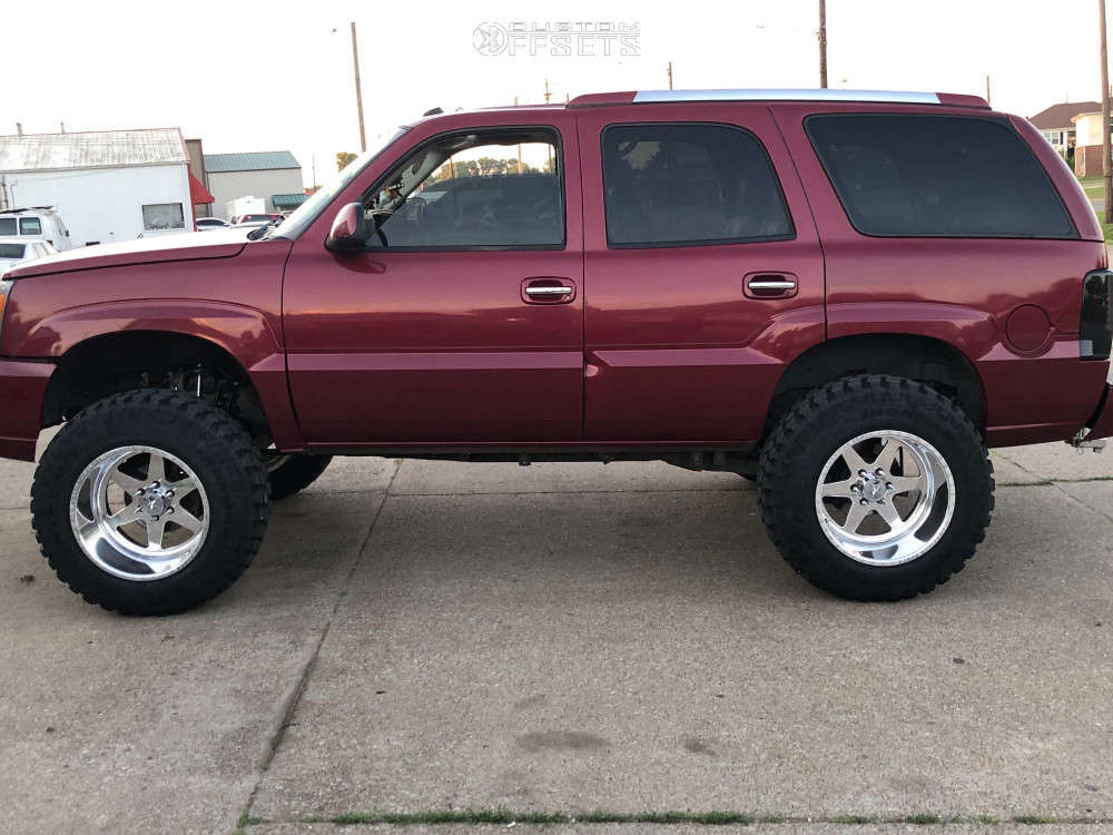 """2004 Cadillac Escalade Hella Stance >5"""" on 20x14 -71 offset American Force Independence Ss and 37""""x12.5"""" Ironman All Country Mt on Suspension Lift 6"""" - Custom Offsets Gallery"""