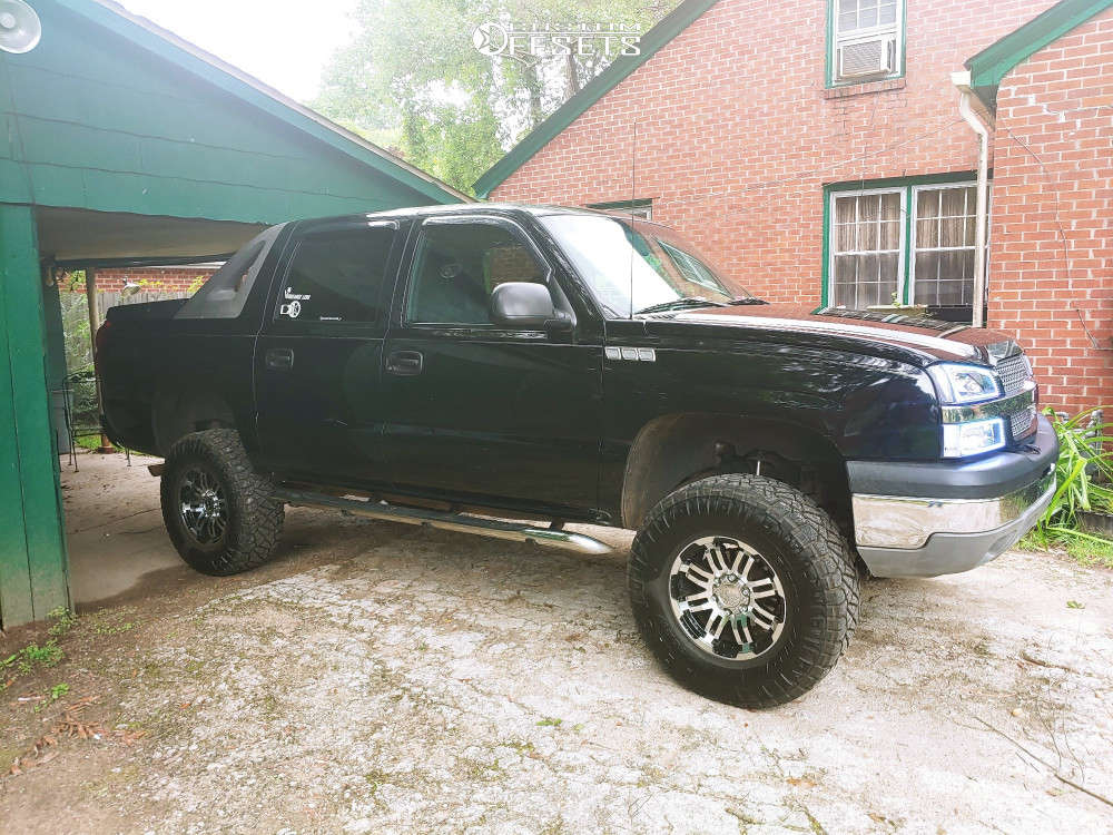 """2003 Chevrolet Avalanche 1500 Aggressive > 1"""" outside fender on 17x9 12 offset Vision D Window & 315/70 Nitto Ridge Grappler on Suspension Lift 6"""" - Custom Offsets Gallery"""