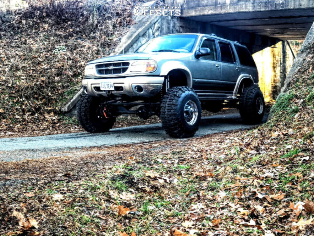 """1999 Ford Explorer Hella Stance >5"""" on 15x14 -88.9 offset Bart Super Trucker and 38""""x10.5"""" Interco Tsl Bogger on Suspension Lift 8"""" - Custom Offsets Gallery"""