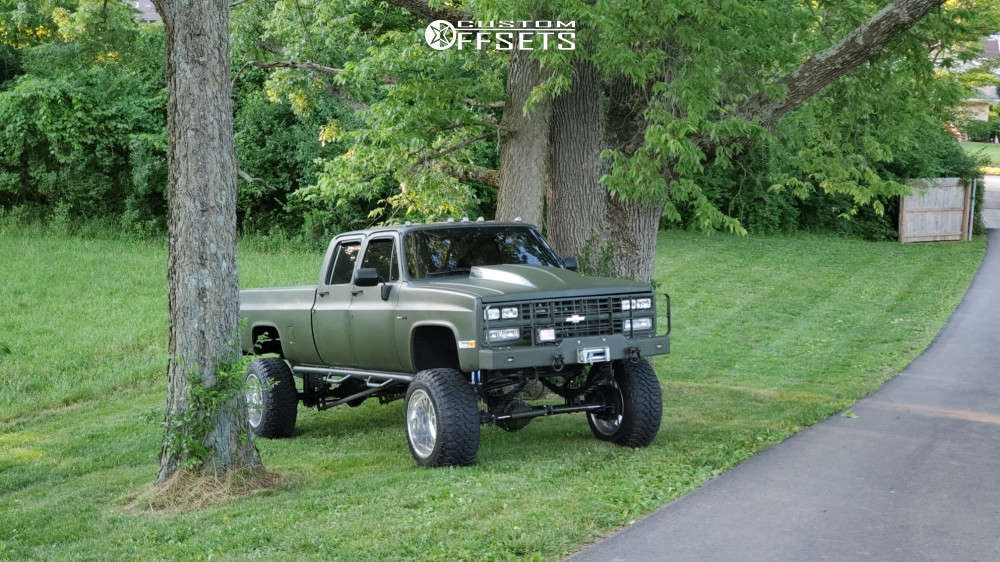 """1988 Chevrolet K3500 Aggressive > 1"""" outside fender on 22x14 -76 offset American Force Fallout Fp and 37""""x13.5"""" Centennial Dirt Commander M/t on Suspension Lift 9.5"""" - Custom Offsets Gallery"""