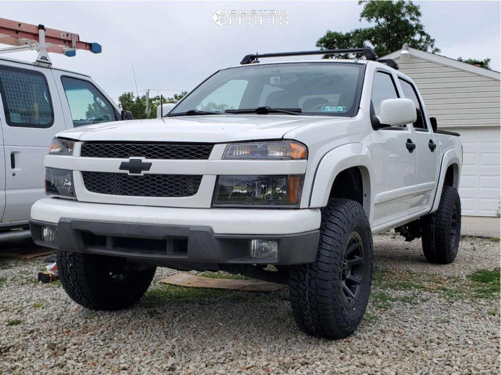 "2009 Chevrolet Colorado Aggressive > 1"" outside fender on 16x8 0 offset Vision Turbine & 265/75 Falken Wildpeak At3w on Suspension Lift 3"" - Custom Offsets Gallery"