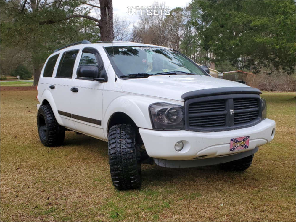 """2005 Dodge Durango Super Aggressive 3""""-5"""" on 20x11.5 -44 offset Vision Empire and 33""""x12.5"""" Federal Couragia Mt on Stock - Custom Offsets Gallery"""