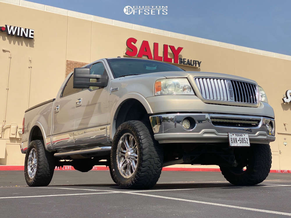 """2006 Lincoln Mark LT Aggressive > 1"""" outside fender on 20x9 0 offset American Racing Cross Fire and 35""""x12.5"""" Black Bear Mud Terrain on Suspension Lift 6"""" - Custom Offsets Gallery"""