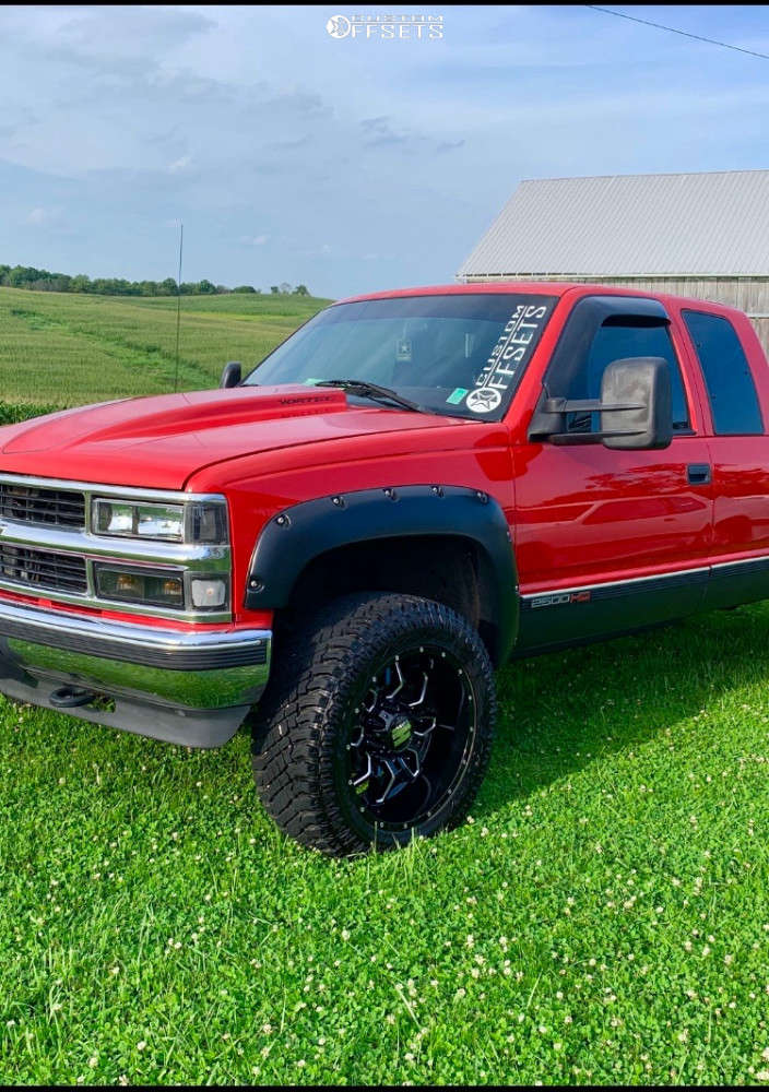 """1998 Chevrolet C2500 Slightly Aggressive on 20x12 -44 offset Havok H109 and 33""""x12.5"""" Atturo Trail Blade Xt on Stock Suspension - Custom Offsets Gallery"""