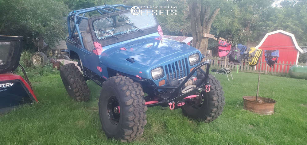"""1988 Jeep Wrangler Hella Stance >5"""" on 16.5x9.5 0 offset Staz Works Recentered H1 and 42""""x14.5"""" Interco TSL on Suspension Lift 4"""" - Custom Offsets Gallery"""