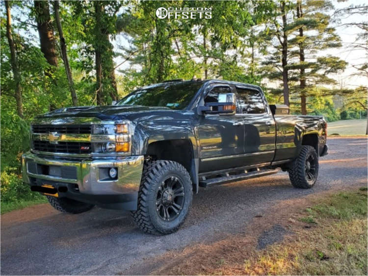 """2017 Chevrolet Silverado 3500 HD Aggressive > 1"""" outside fender on 20x9 18 offset XD Monster & 35""""x12.5"""" Nitto Trail Grappler on Suspension Lift 2.5"""" - Custom Offsets Gallery"""