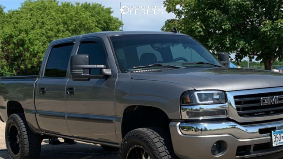 """2007 GMC Sierra 1500 Classic Aggressive > 1"""" outside fender on 20x10 -24 offset Dropstars 645mb and 35""""x12.5"""" Falken Wildpeak At3w on Suspension Lift 6"""" - Custom Offsets Gallery"""