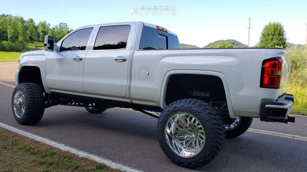 """2015 GMC Sierra 2500 HD Super Aggressive 3""""-5"""" on 22x14 -90 offset American Force Draco & 37""""x13.5"""" Nitto Trail Grappler on Suspension Lift 9"""" - Custom Offsets Gallery"""