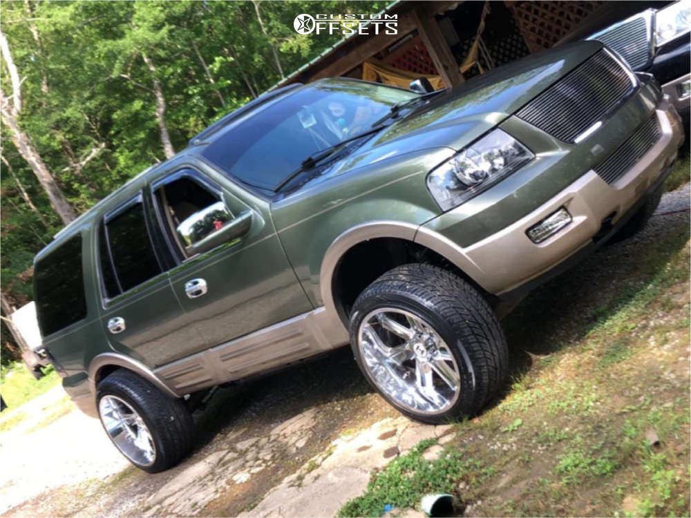 """2004 Ford Expedition Super Aggressive 3""""-5"""" on 22x12 -44 offset Hostile Switch Blade and 305/50 Nitto Nt420v on Suspension Lift 4"""" - Custom Offsets Gallery"""