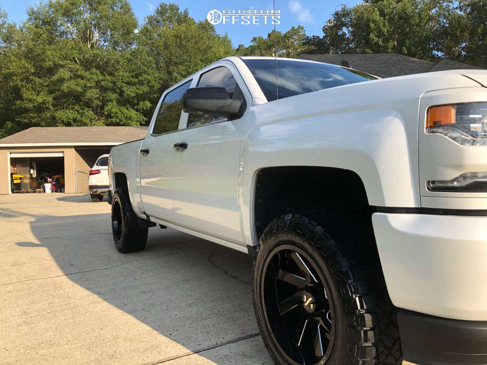 """2017 Chevrolet Silverado 1500 Aggressive > 1"""" outside fender on 20x10 -25 offset Arkon Off-road Lincoln and 33""""x11.5"""" Nitto Ridge Grappler on Suspension Lift 3.5"""" - Custom Offsets Gallery"""