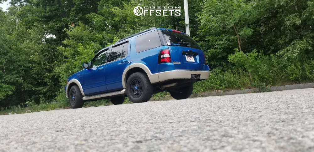 2010 Ford Explorer Slightly Aggressive on 17x9 -12 offset Kmc Rockstar XD827 and 245/70 Goodyear Fortera HL on Stock Suspension - Custom Offsets Gallery