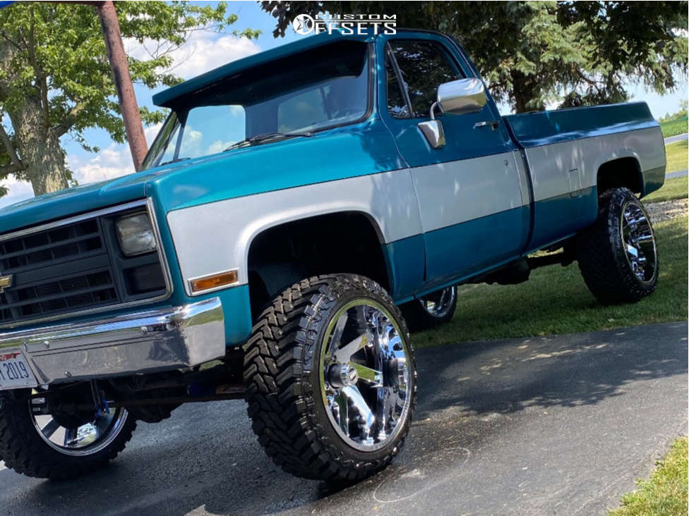 """1986 Chevrolet K10 Pickup Aggressive > 1"""" outside fender on 22x12 -51 offset ARKON OFF-ROAD Lincoln & 33""""x12.5"""" Atturo Trail Blade Mt on Suspension Lift 2.5"""" - Custom Offsets Gallery"""
