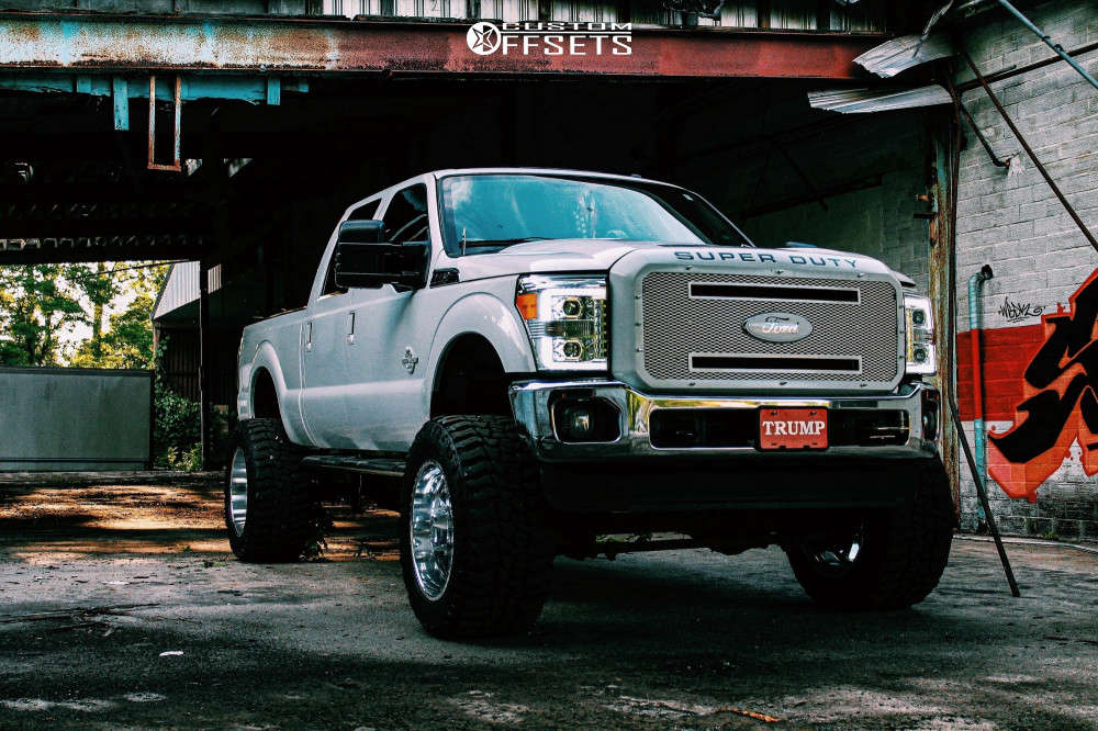 """2012 Ford F-250 Super Duty Hella Stance >5"""" on 22x14 -76 offset American Force Independence Ss and 38""""x15.5"""" Mickey Thompson Baja Boss on Suspension Lift 8"""" - Custom Offsets Gallery"""