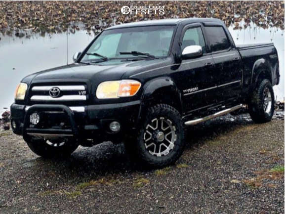 """2006 Toyota Tundra Aggressive > 1"""" outside fender on 17x9 -12 offset Ion Alloy 179 and 305/50 Falken Wildpeak At3w on Leveling Kit - Custom Offsets Gallery"""