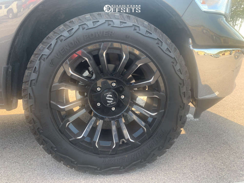 "2019 Ram 1500 Classic Aggressive > 1"" outside fender on 20x12 -44 offset Steel Off-Road Sd310 & 33""x12.5"" Venom Power Terra Hunter X/t on Stock Suspension - Custom Offsets Gallery"