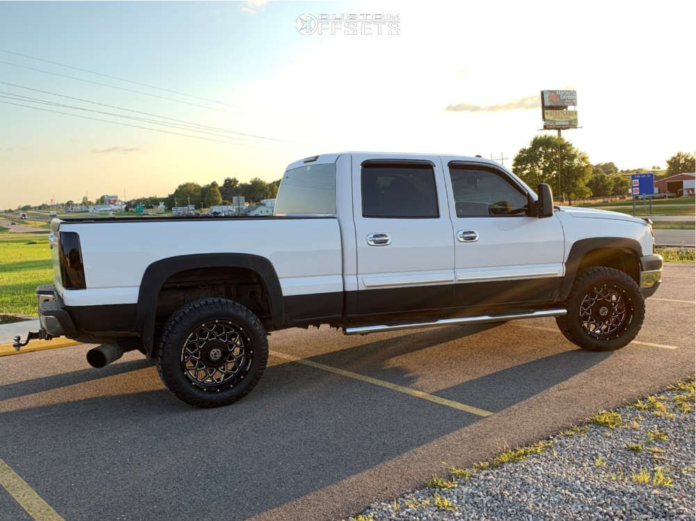 """2005 Chevrolet Silverado 2500 HD Aggressive > 1"""" outside fender on 20x9 0 offset Anthem Off-Road Avenger and 275/60 Nitto Ridge Grappler on Stock Suspension - Custom Offsets Gallery"""