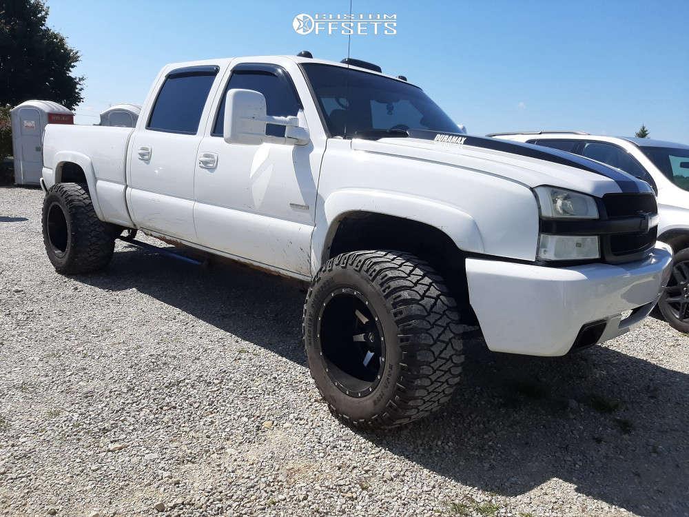 "2003 Chevrolet Silverado 2500 HD Hella Stance >5"" on 20x14 -77 offset Fuel Maverick & 36""x15.5"" Mickey Thompson Baja Mtz on Suspension Lift 3"" - Custom Offsets Gallery"