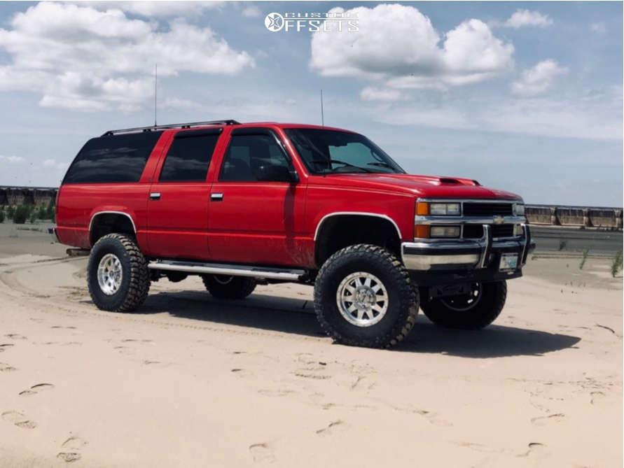"1995 Chevrolet K1500 Suburban Aggressive > 1"" outside fender on 16x8 19 offset Method Standard and 35""x12.5"" Crosswind Crosswind Mt on Suspension Lift 6"" - Custom Offsets Gallery"