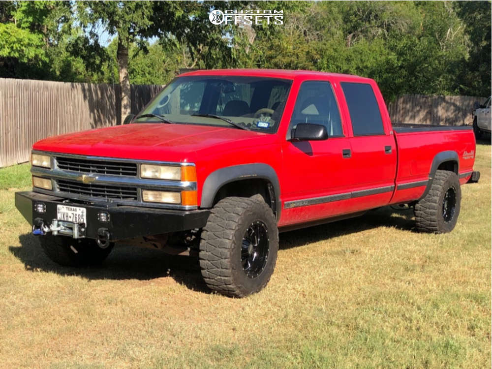 """1997 Chevrolet K3500 Super Aggressive 3""""-5"""" on 17x10 -24 offset Moto Metal Mo962 and 33""""x12.5"""" Nitto Mud Grappler on Stock Suspension - Custom Offsets Gallery"""