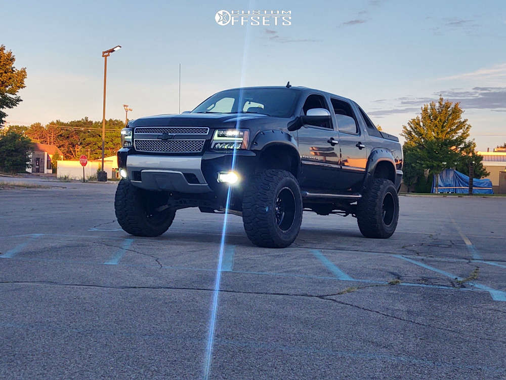 """2008 Chevrolet Avalanche Super Aggressive 3""""-5"""" on 20x12 -43 offset Fuel Stroke & 38""""x15.5"""" Milestar Patagonia Mt on Suspension Lift 7.5"""" & Body 3"""" - Custom Offsets Gallery"""