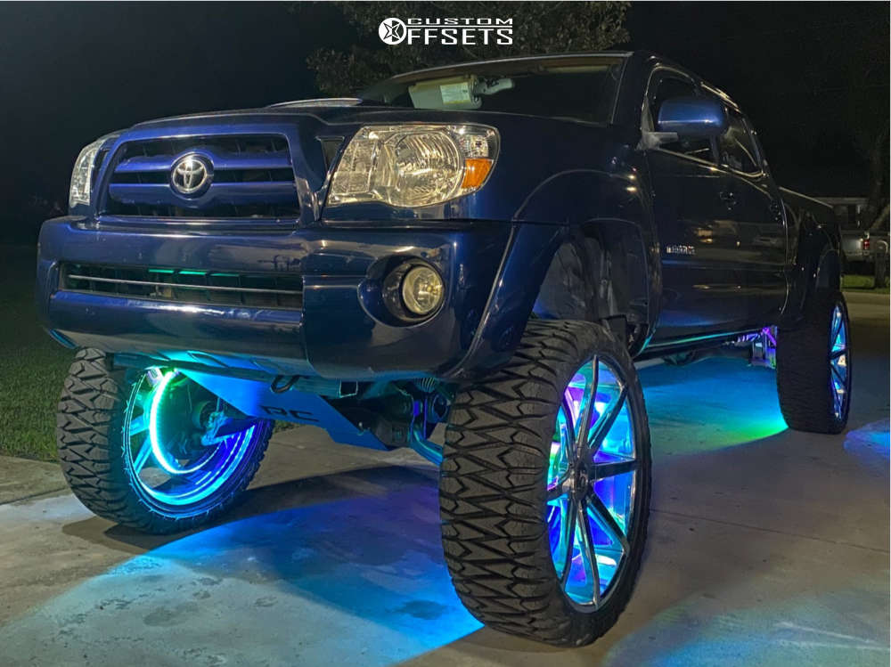 """2005 Toyota Tacoma Aggressive > 1"""" outside fender on 26x10 12 offset DUB Shot Calla and 35""""x13.5"""" Pioneer M/t on Suspension Lift 10"""" - Custom Offsets Gallery"""