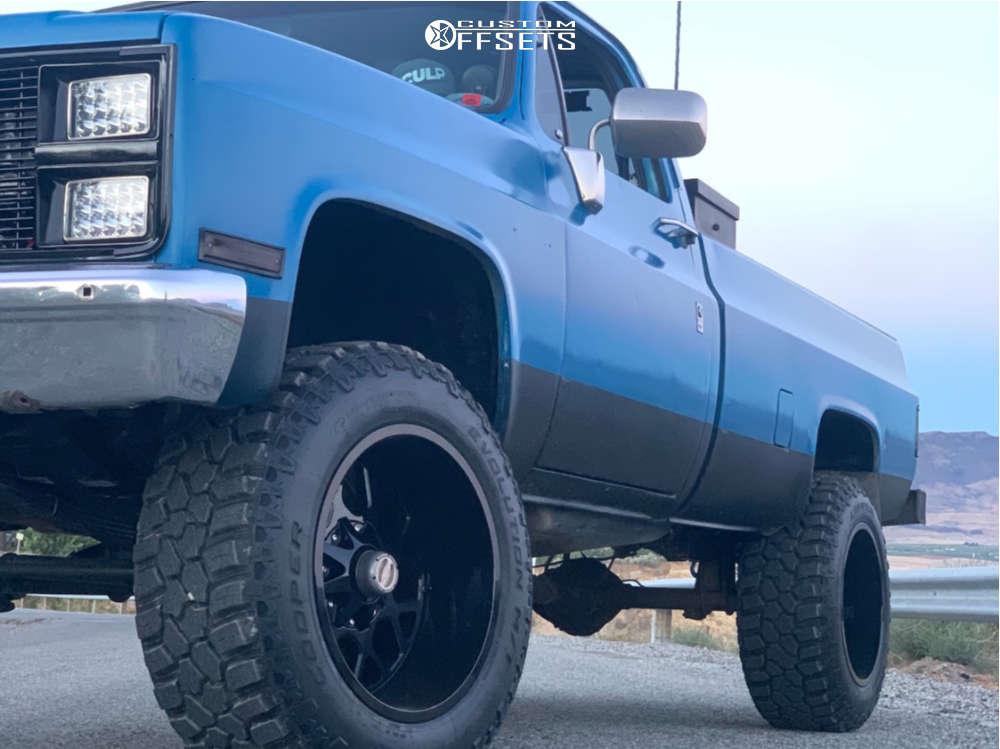 "1986 Chevrolet K10 Pickup Slightly Aggressive on 20x12 -44 offset Hardrock Gunner H705 & 35""x12.5"" Cooper Evolution Mt on Suspension Lift 4"" - Custom Offsets Gallery"