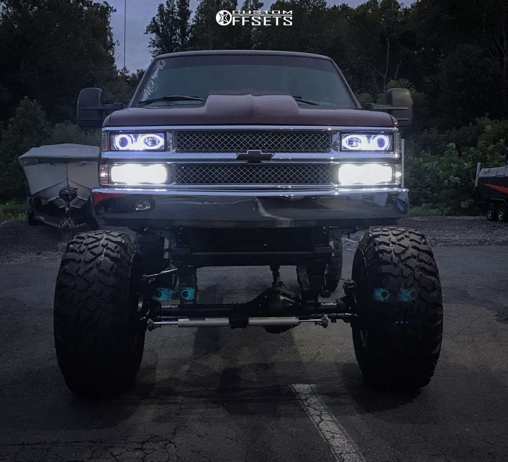 """1999 Chevrolet K3500 Hella Stance >5"""" on 20x14 -76 offset Fuel Hostage and 42""""x15.5"""" Pitbull Rocker Radial on Lifted >12"""" - Custom Offsets Gallery"""