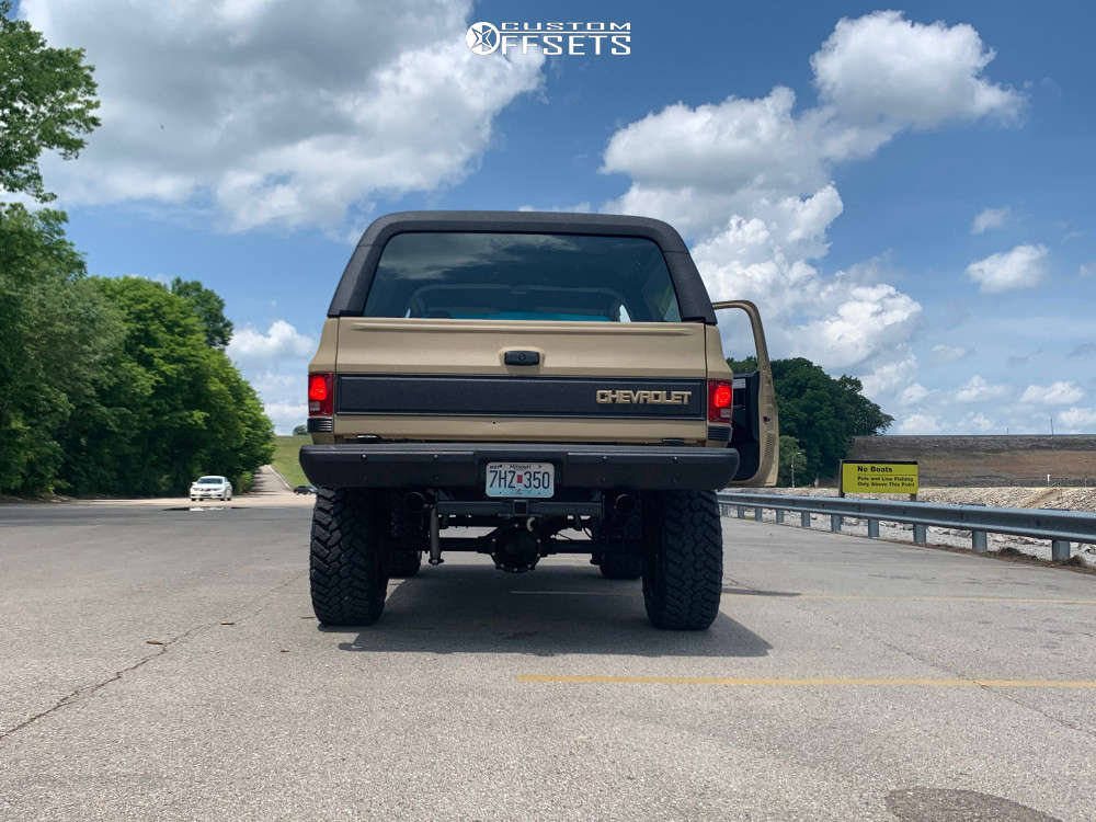 "1983 Chevrolet K5 Blazer Aggressive > 1"" outside fender on 20x12 -44 offset Black Rhino Arsenal & 35""x12.5"" Nitto Trail Grappler on Suspension Lift 4"" - Custom Offsets Gallery"