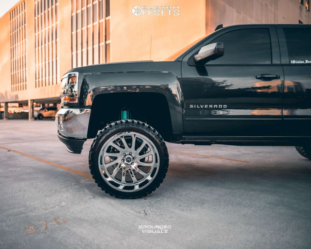 """2018 Chevrolet Silverado 1500 Aggressive > 1"""" outside fender on 24x12 -44 offset Hardcore Offroad Hc15 and 35""""x12.5"""" Haida Mud Champ on Suspension Lift 7.5"""" - Custom Offsets Gallery"""