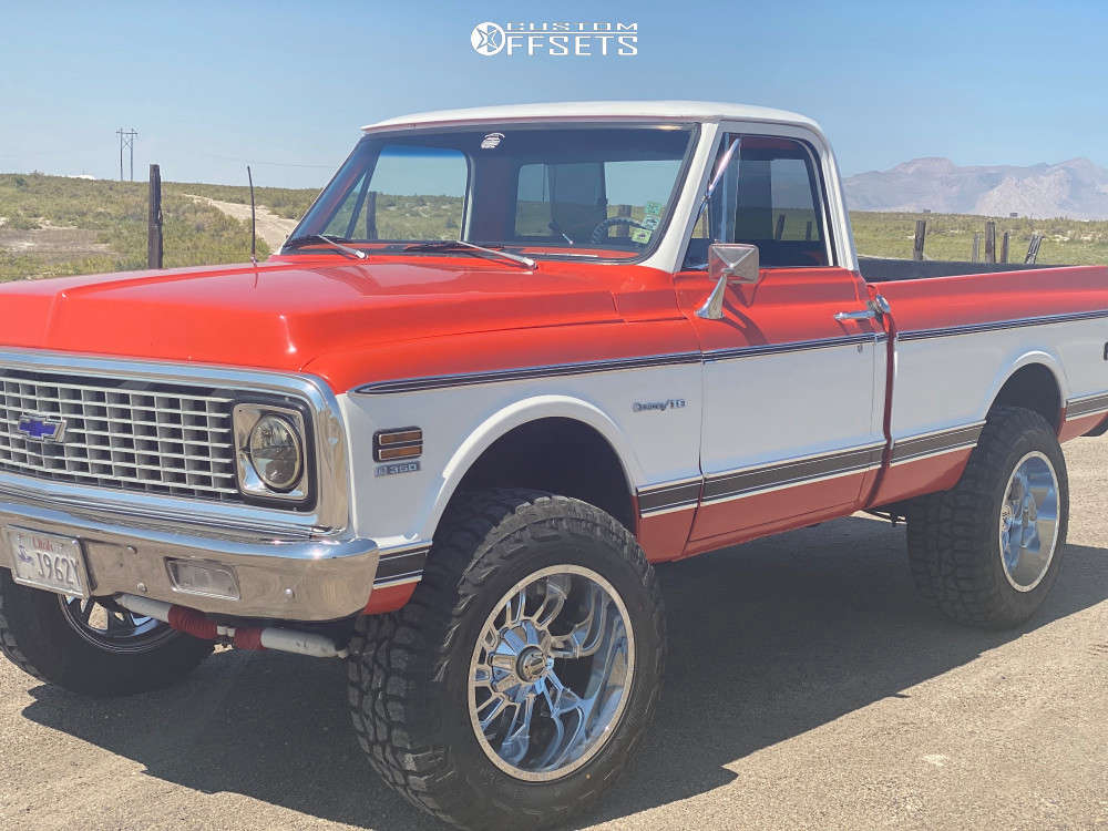 """1972 Chevrolet K10 Pickup Aggressive > 1"""" outside fender on 20x12 -44 offset American Truxx At162 & 35""""x12.5"""" AMP Terrain Attack At A on Suspension Lift 4.5"""" - Custom Offsets Gallery"""