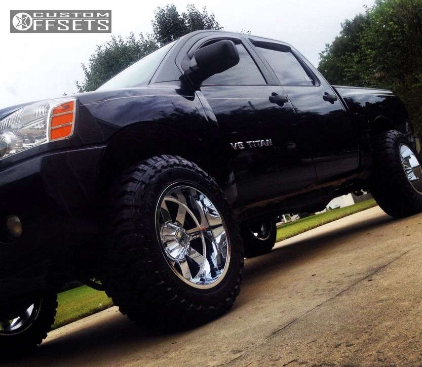"""2005 Nissan Titan Super Aggressive 3""""-5"""" on 20x12 -44 offset Moto Metal MO962 and 35""""x12.5"""" Toyo Tires Open Country M/T on Suspension Lift 4.5"""" - Custom Offsets Gallery"""