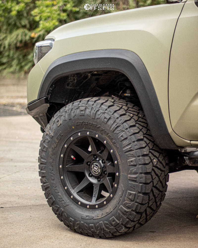 """2018 Toyota Tacoma Aggressive > 1"""" outside fender on 17x8.5 0 offset Icon Alloys Rebound and 305/70 Nitto Ridge Grappler on Suspension Lift 2.5"""" - Custom Offsets Gallery"""