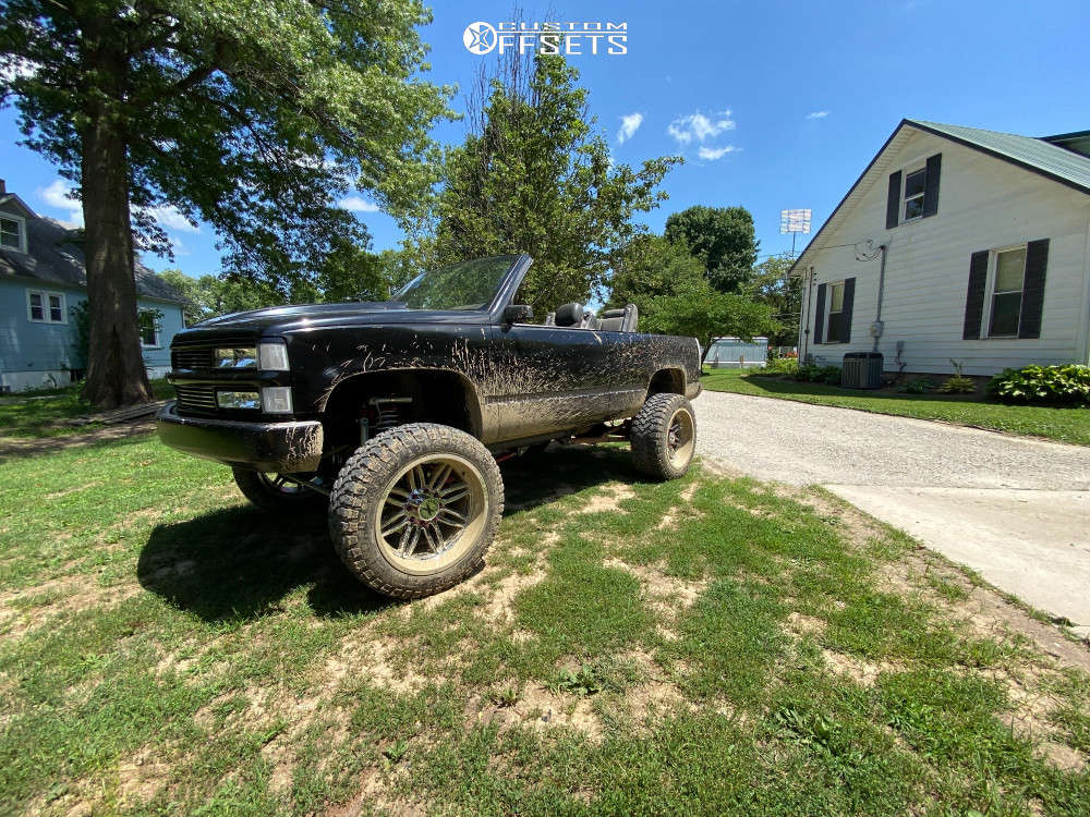 """1994 Chevrolet Blazer Hella Stance >5"""" on 22x12 -44 offset Xtreme Force Xf5 & 35""""x12.5"""" Comforser Cf3000 on Suspension Lift 8"""" - Custom Offsets Gallery"""