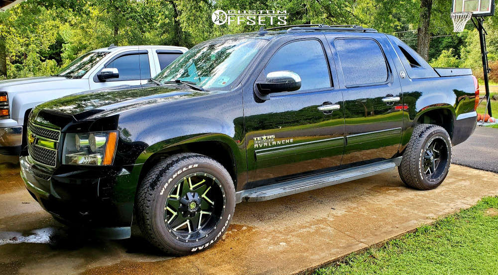 """2013 Chevrolet Avalanche Aggressive > 1"""" outside fender on 20x10 -18 offset Luxxx HD Lhd2 & 275/55 Goodyear Wrangler At/s on Stock Suspension - Custom Offsets Gallery"""